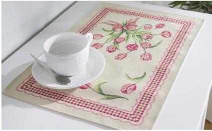 Tafelkleed, luxe gobelin, boeket Tulpen met ruiten rand